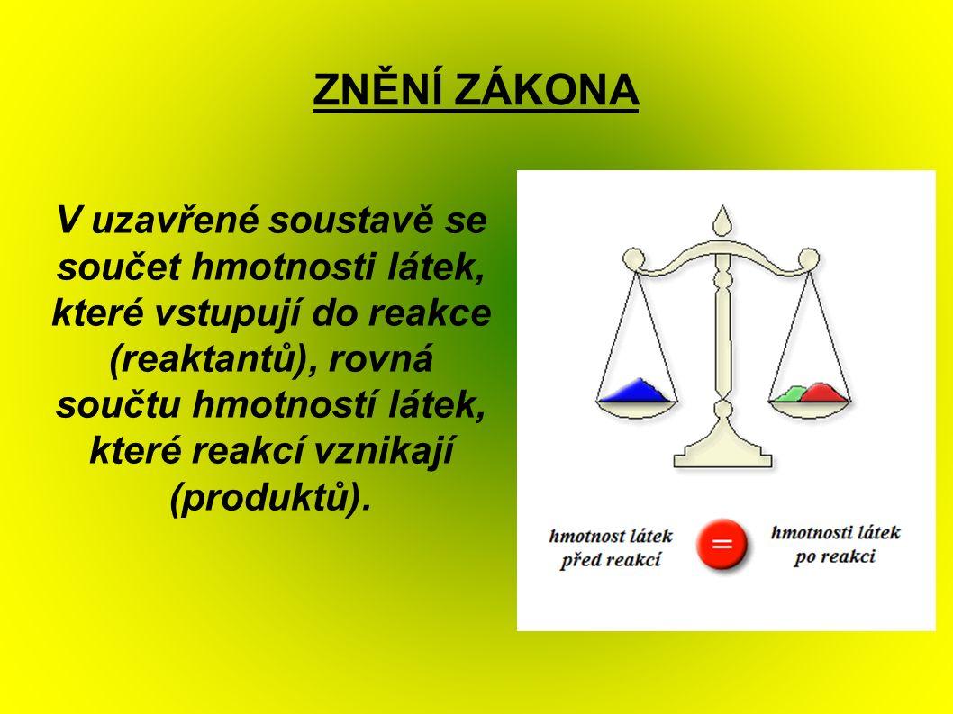 ZNĚNÍ ZÁKONA V uzavřené soustavě se součet hmotnosti látek, které vstupují do reakce (reaktantů), rovná součtu hmotností látek, které reakcí vznikají (produktů).