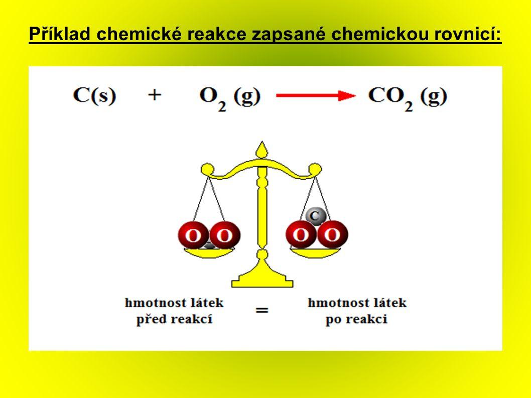 Příklad chemické reakce zapsané chemickou rovnicí: