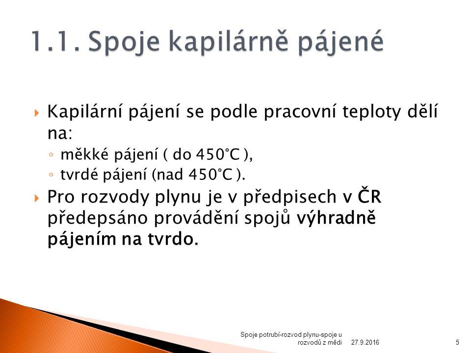 Kapilární pájení se podle pracovní teploty dělí na: ◦ měkké pájení ( do 450°C ), ◦ tvrdé pájení (nad 450°C ).