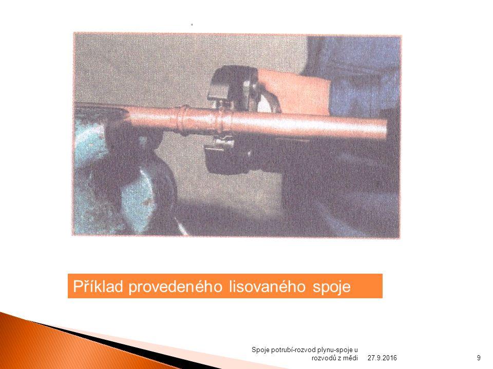 Spoje potrubí-rozvod plynu-spoje u rozvodů z mědi Příklad provedeného lisovaného spoje 27.9.20169