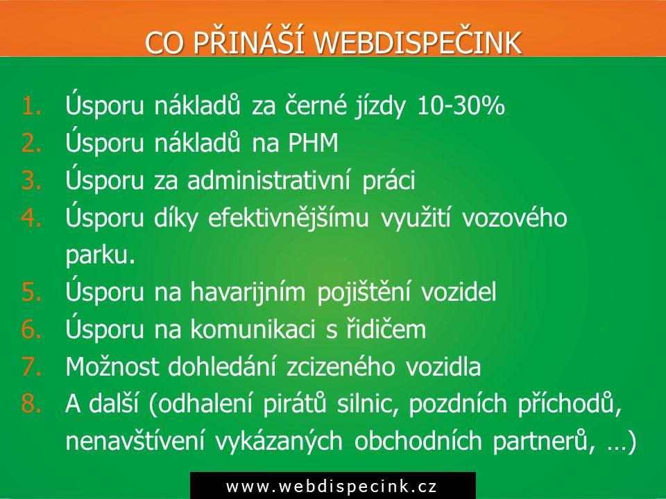 CO PŘINÁŠÍ WEBDISPEČINK www.webdispecink.cz 1.Úsporu nákladů za černé jízdy 10-30% 2.Úsporu nákladů na PHM 3.Úsporu za administrativní práci 4.Úsporu