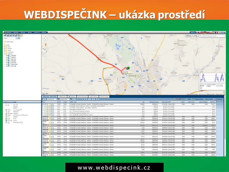 WEBDISPEČINK – ukázka prostředí www.webdispecink.cz