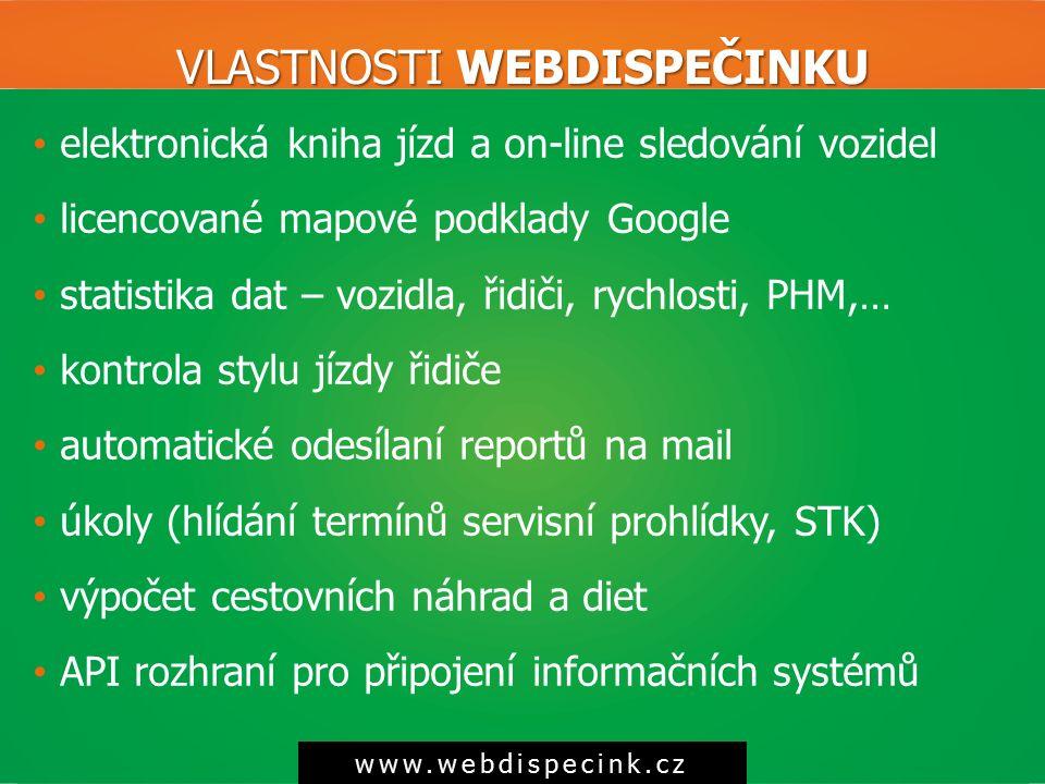VLASTNOSTI WEBDISPEČINKU www.webdispecink.cz elektronická kniha jízd a on-line sledování vozidel licencované mapové podklady Google statistika dat – v