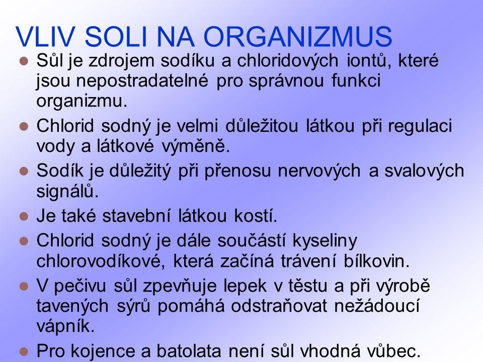 VLIV SOLI NA ORGANIZMUS Sůl je zdrojem sodíku a chloridových iontů, které jsou nepostradatelné pro správnou funkci organizmu.