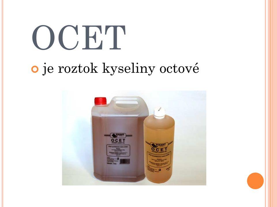 OCET je roztok kyseliny octové
