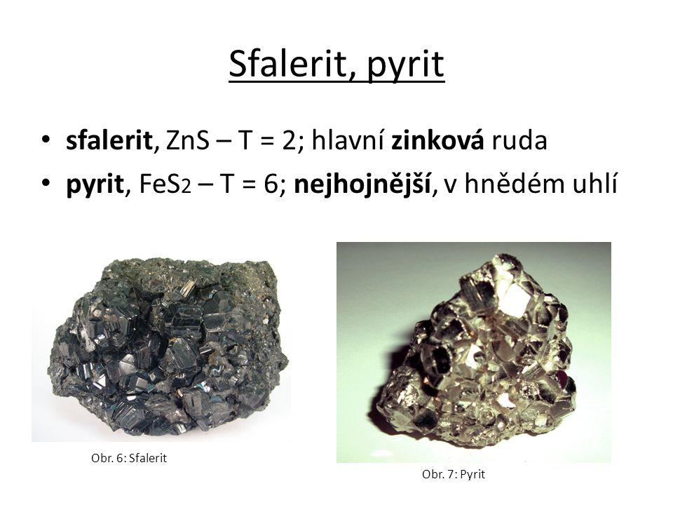 Sfalerit, pyrit sfalerit, ZnS – T = 2; hlavní zinková ruda pyrit, FeS 2 – T = 6; nejhojnější, v hnědém uhlí Obr.