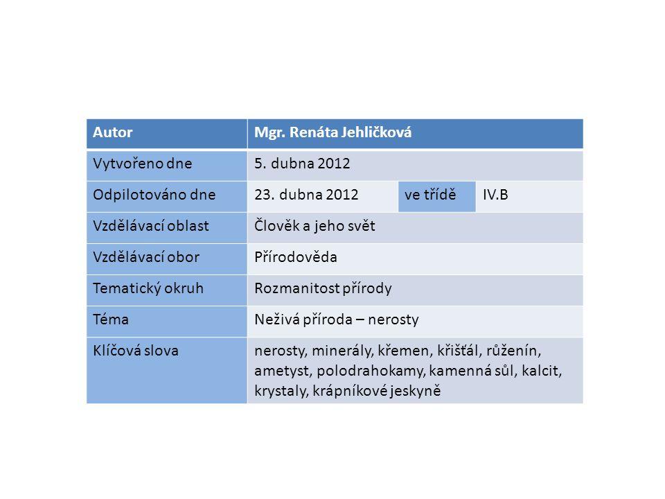 AutorMgr. Renáta Jehličková Vytvořeno dne5. dubna 2012 Odpilotováno dne23.