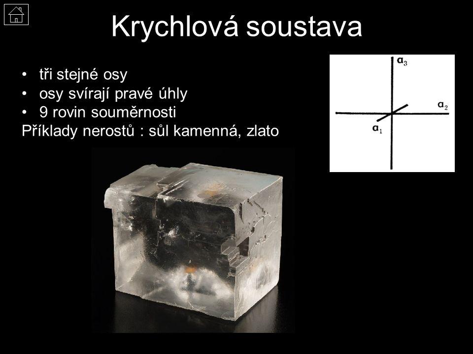 Krychlová soustava tři stejné osy osy svírají pravé úhly 9 rovin souměrnosti Příklady nerostů : sůl kamenná, zlato