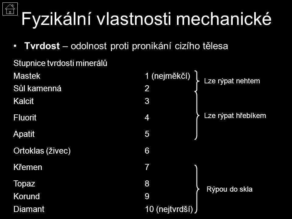 Fyzikální vlastnosti mechanické Tvrdost – odolnost proti pronikání cizího tělesa Stupnice tvrdosti minerálů Mastek1 (nejměkčí) Sůl kamenná2 Kalcit3 Fluorit4 Apatit5 Ortoklas (živec)6 Křemen7 Topaz8 Korund9 Diamant10 (nejtvrdší) Lze rýpat nehtem Lze rýpat hřebíkem Rýpou do skla