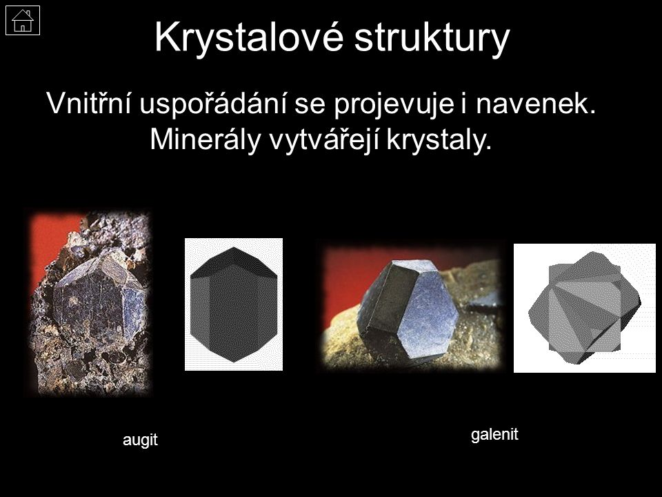 Krystalové struktury Vnitřní uspořádání se projevuje i navenek.