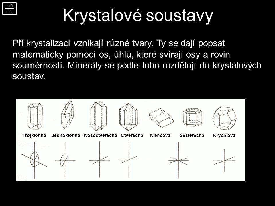 Krystalové soustavy Při krystalizaci vznikají různé tvary.