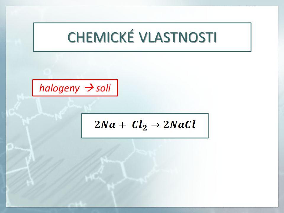 CHEMICKÉ VLASTNOSTI halogeny  soli