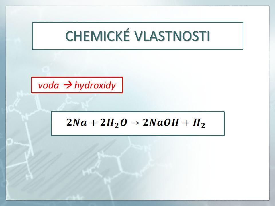 CHEMICKÉ VLASTNOSTI voda  hydroxidy
