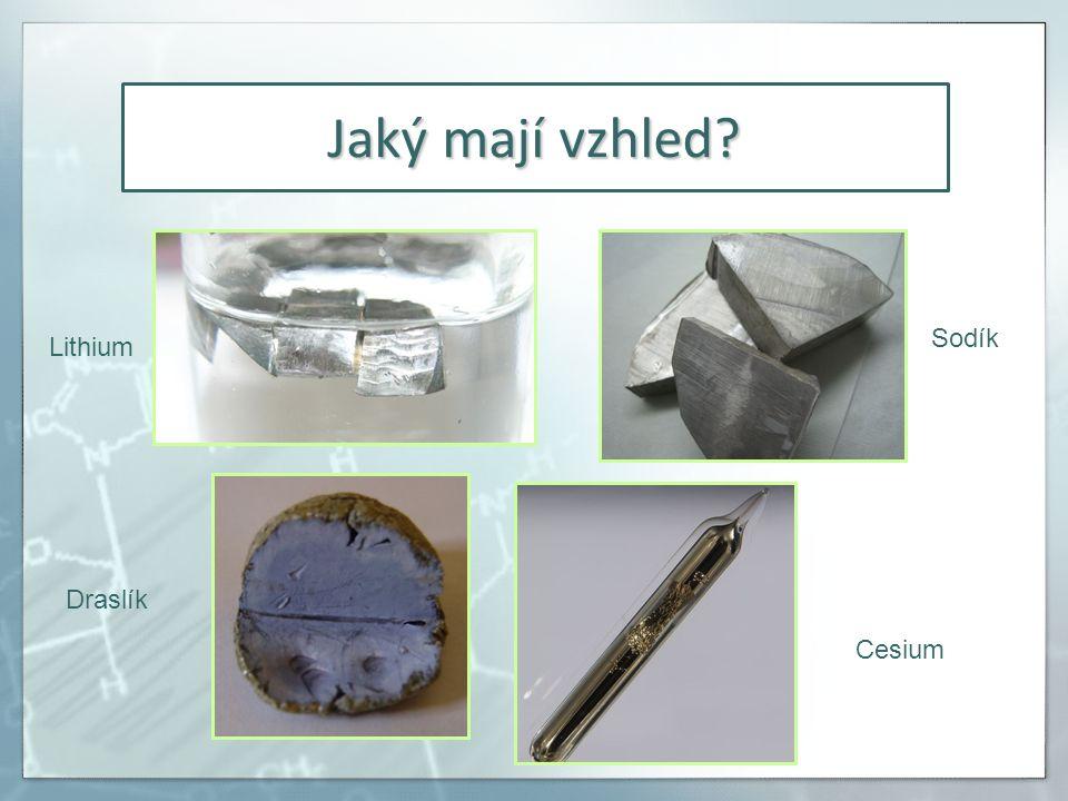 Jaký mají vzhled Lithium Sodík Draslík Cesium