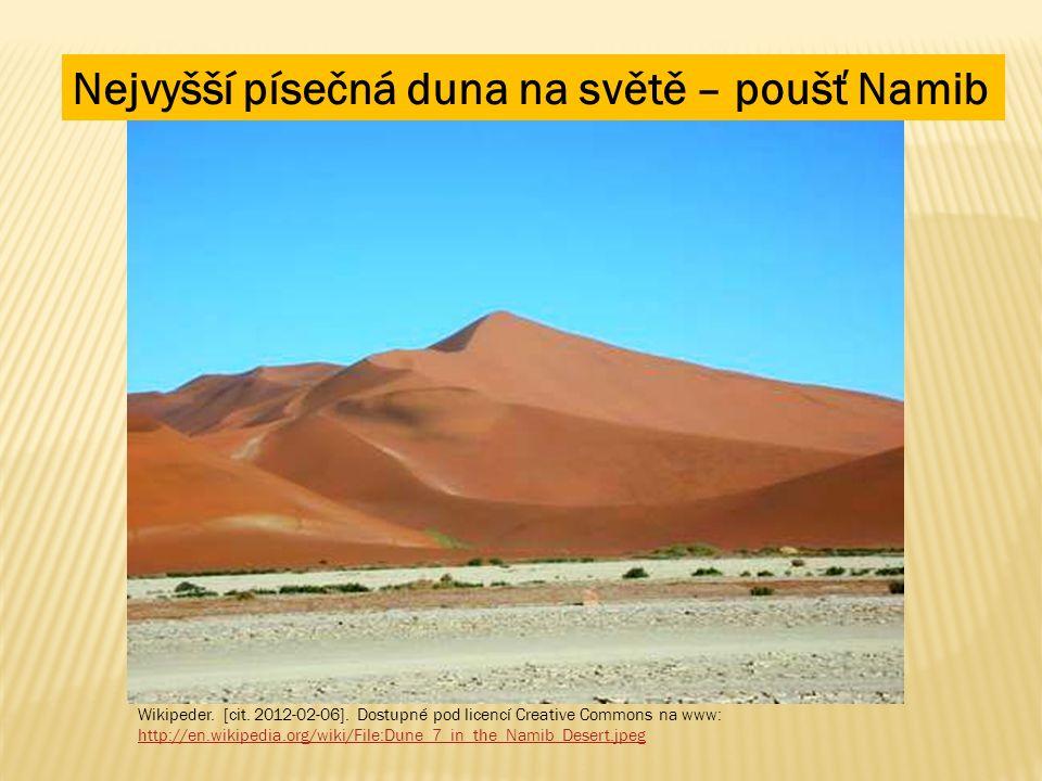 Nejvyšší písečná duna na světě – poušť Namib Wikipeder. [cit. 2012-02-06]. Dostupné pod licencí Creative Commons na www: http://en.wikipedia.org/wiki/