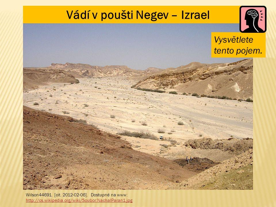 Vádí v poušti Negev – Izrael Wilson44691. [cit. 2012-02-06]. Dostupné na www: http://cs.wikipedia.org/wiki/Soubor:NachalParan1.jpg Vysvětlete tento po