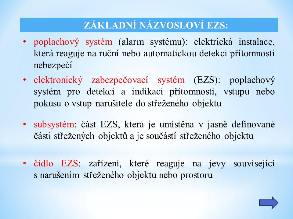 poplachový systém (alarm systému): elektrická instalace, která reaguje na ruční nebo automatickou detekci přítomnosti nebezpečí ZÁKLADNÍ NÁZVOSLOVÍ EZS: elektronický zabezpečovací systém (EZS): poplachový systém pro detekci a indikaci přítomnosti, vstupu nebo pokusu o vstup narušitele do střeženého objektu subsystém: část EZS, která je umístěna v jasně definované části střežených objektů a je součástí střeženého objektu čidlo EZS: zařízení, které reaguje na jevy související s narušením střeženého objektu nebo prostoru
