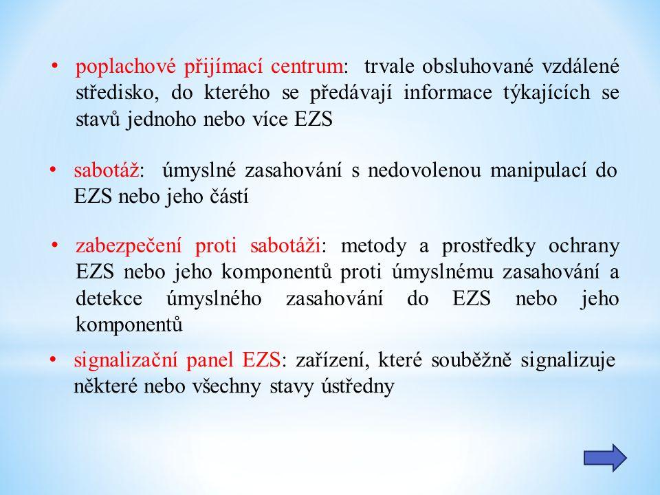 poplachové přijímací centrum: trvale obsluhované vzdálené středisko, do kterého se předávají informace týkajících se stavů jednoho nebo více EZS sabotáž: úmyslné zasahování s nedovolenou manipulací do EZS nebo jeho částí zabezpečení proti sabotáži: metody a prostředky ochrany EZS nebo jeho komponentů proti úmyslnému zasahování a detekce úmyslného zasahování do EZS nebo jeho komponentů signalizační panel EZS: zařízení, které souběžně signalizuje některé nebo všechny stavy ústředny