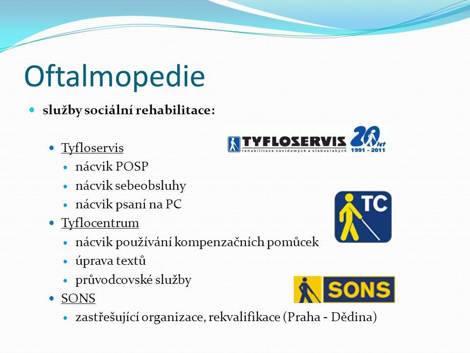 Oftalmopedie služby sociální rehabilitace: Tyfloservis nácvik POSP nácvik sebeobsluhy nácvik psaní na PC Tyflocentrum nácvik používání kompenzačních p