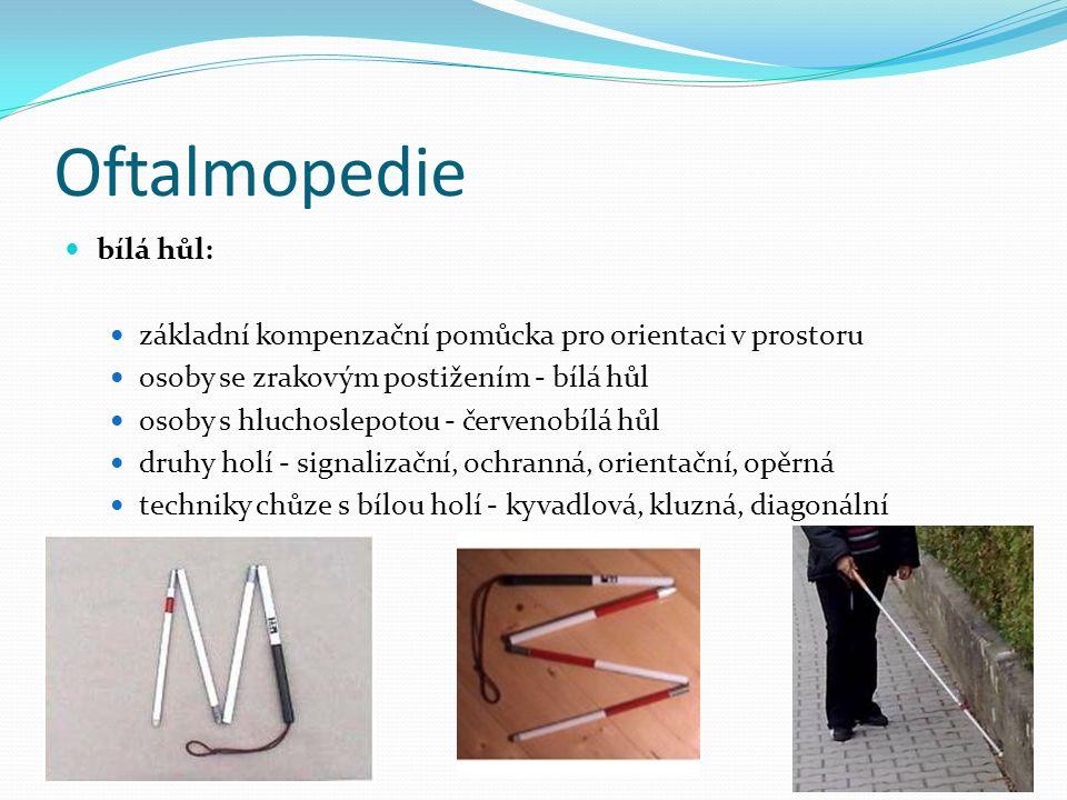 Oftalmopedie bílá hůl: základní kompenzační pomůcka pro orientaci v prostoru osoby se zrakovým postižením - bílá hůl osoby s hluchoslepotou - červenobílá hůl druhy holí - signalizační, ochranná, orientační, opěrná techniky chůze s bílou holí - kyvadlová, kluzná, diagonální