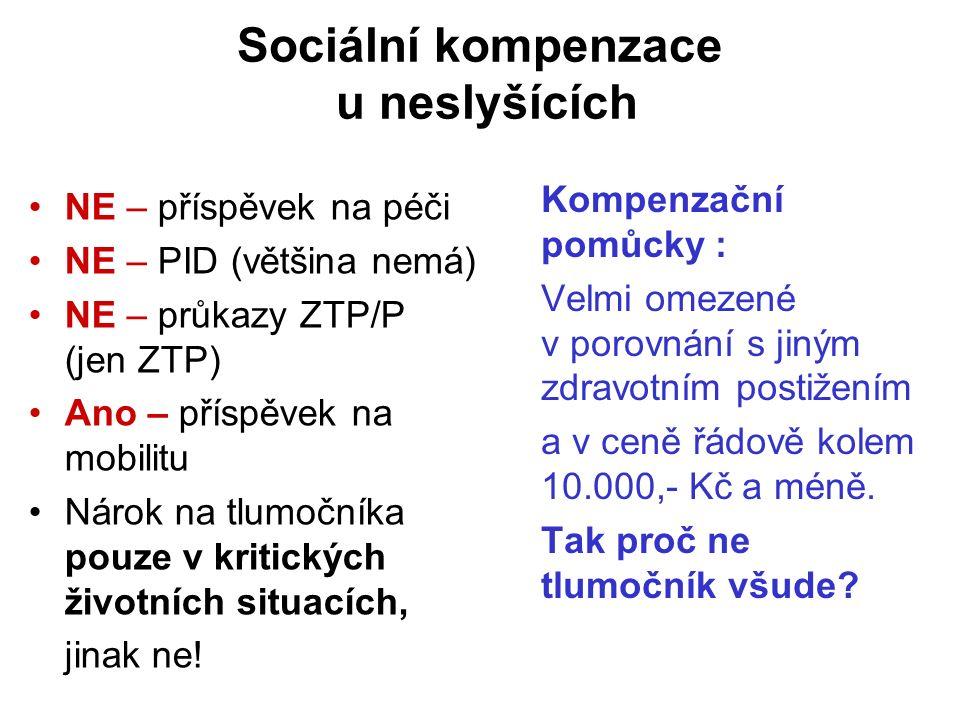 Sociální kompenzace u neslyšících NE – příspěvek na péči NE – PID (většina nemá) NE – průkazy ZTP/P (jen ZTP) Ano – příspěvek na mobilitu Nárok na tlumočníka pouze v kritických životních situacích, jinak ne.