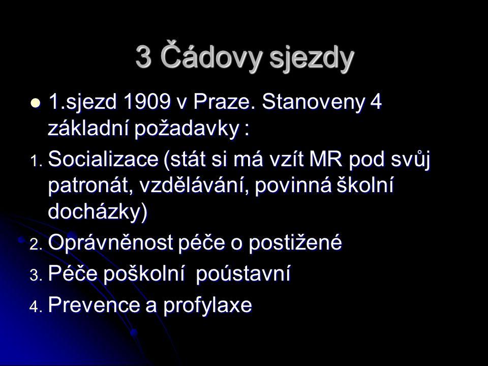 3 Čádovy sjezdy 1.sjezd 1909 v Praze. Stanoveny 4 základní požadavky : 1.sjezd 1909 v Praze.
