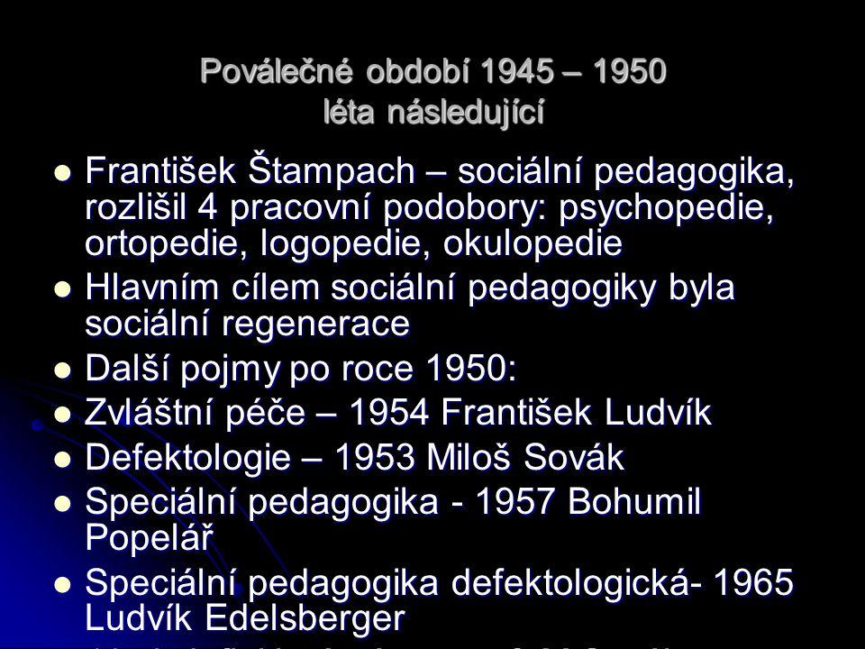 Transformace speciálního vzdělávání Do roku 1989 vývoj vědního oboru, budování speciální škola dalších zařízení (ÚSP pro MR), tvorba speciální pomůcek a učebnic.