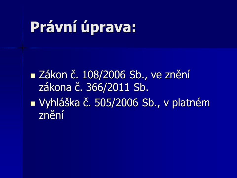 Právní úprava: Zákon č. 108/2006 Sb., ve znění zákona č.