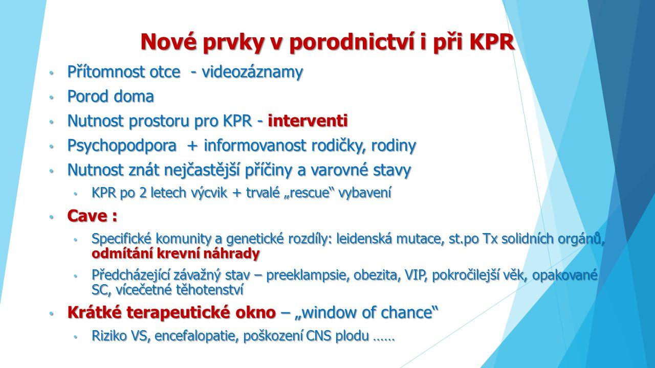 Nové prvky v porodnictví i při KPR Přítomnost otce - videozáznamy Přítomnost otce - videozáznamy Porod doma Porod doma Nutnost prostoru pro KPR - inte