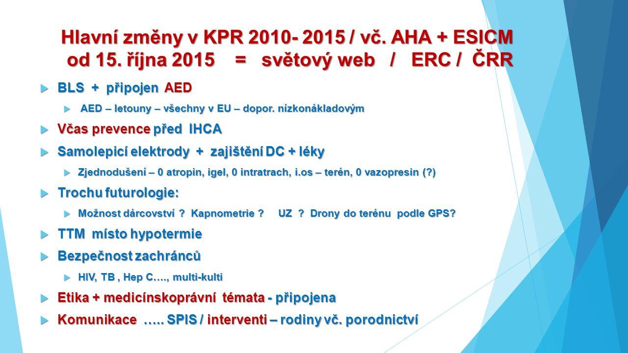 Hlavní změny v KPR 2010- 2015 / vč. AHA + ESICM od 15. října 2015 = světový web / ERC / ČRR  BLS + připojen AED  AED – letouny – všechny v EU – dopo