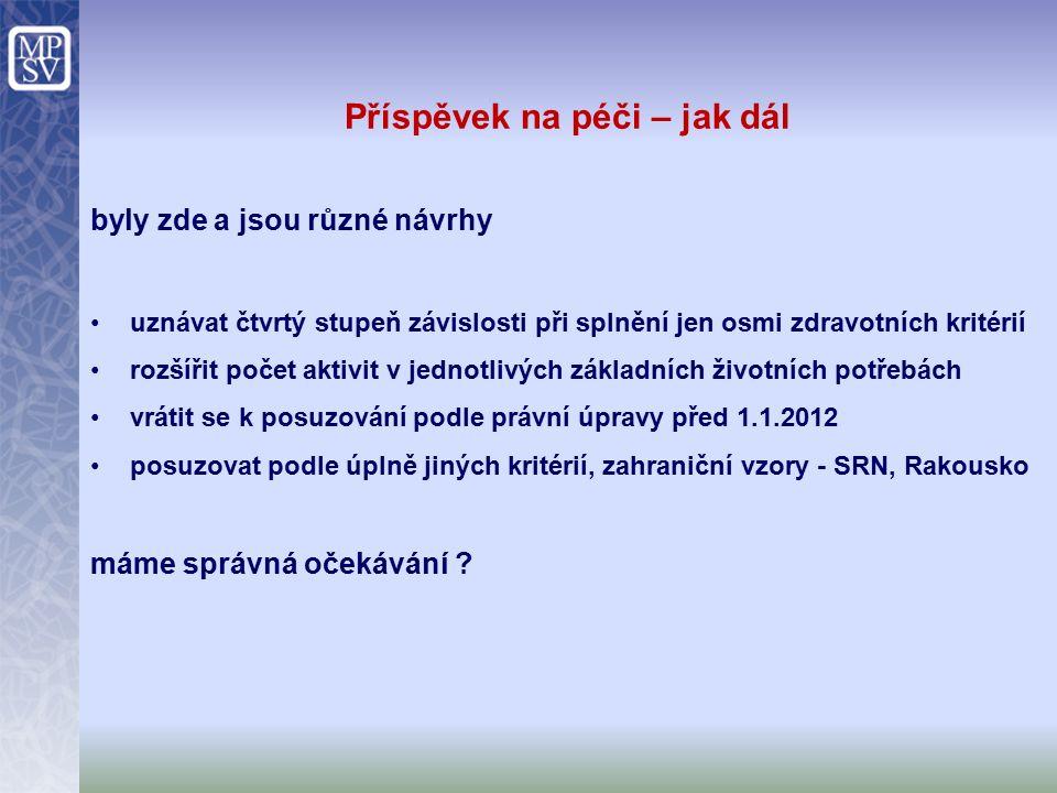 Příspěvek na péči – jak dál byly zde a jsou různé návrhy uznávat čtvrtý stupeň závislosti při splnění jen osmi zdravotních kritérií rozšířit počet aktivit v jednotlivých základních životních potřebách vrátit se k posuzování podle právní úpravy před 1.1.2012 posuzovat podle úplně jiných kritérií, zahraniční vzory - SRN, Rakousko máme správná očekávání