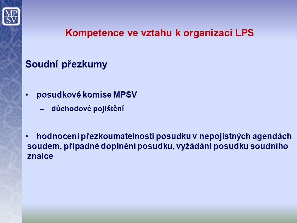 Kompetence ve vztahu k organizaci LPS Soudní přezkumy posudkové komise MPSV –důchodové pojištění hodnocení přezkoumatelnosti posudku v nepojistných agendách soudem, případné doplnění posudku, vyžádání posudku soudního znalce