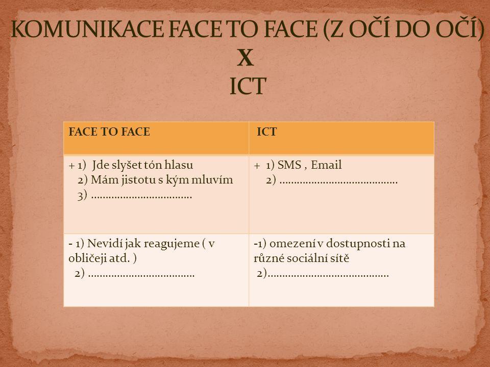 FACE TO FACE ICT + 1) Jde slyšet tón hlasu 2) Mám jistotu s kým mluvím 3) ……………………………..