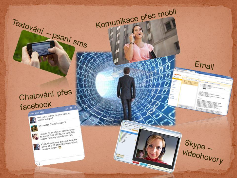 Textování – psaní sms Chatování přes facebook Skype – videohovory Komunikace přes mobil Email