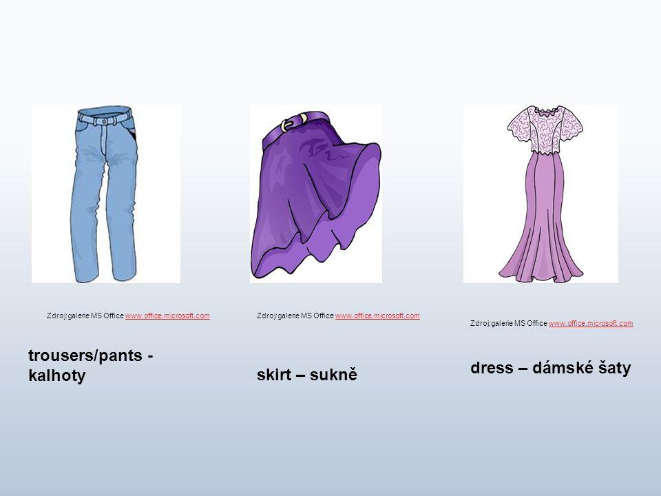 trousers/pants - kalhoty skirt – sukně dress – dámské šaty Zdroj:galerie MS Office www.office.microsoft.comwww.office.microsoft.comZdroj:galerie MS Of