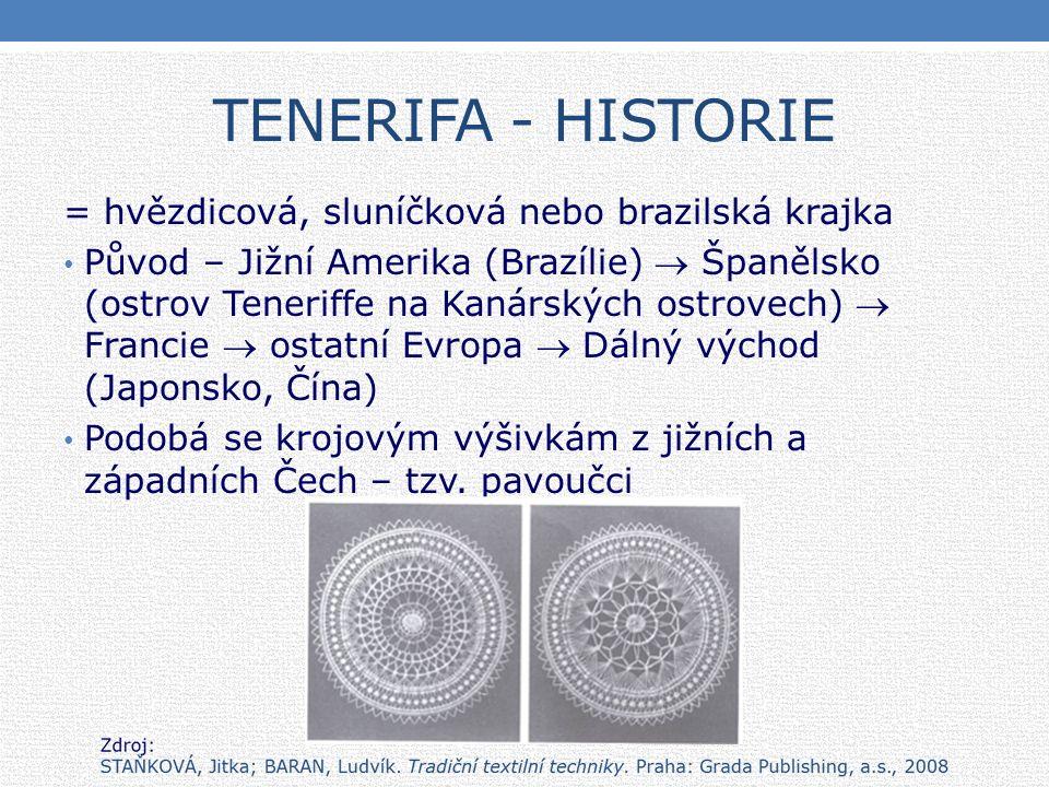 TENERIFA - HISTORIE = hvězdicová, sluníčková nebo brazilská krajka Původ – Jižní Amerika (Brazílie)  Španělsko (ostrov Teneriffe na Kanárských ostrovech)  Francie  ostatní Evropa  Dálný východ (Japonsko, Čína) Podobá se krojovým výšivkám z jižních a západních Čech – tzv.