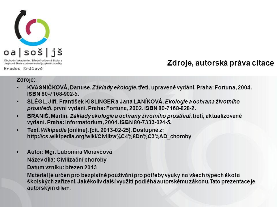 Zdroje, autorská práva citace Zdroje: KVASNIČKOVÁ, Danuše.