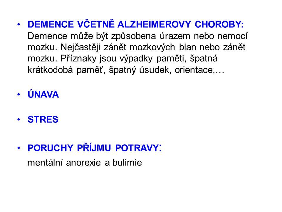 DEMENCE VČETNĚ ALZHEIMEROVY CHOROBY: Demence může být způsobena úrazem nebo nemocí mozku.