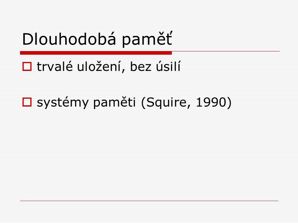Dlouhodobá paměť  trvalé uložení, bez úsilí  systémy paměti (Squire, 1990)