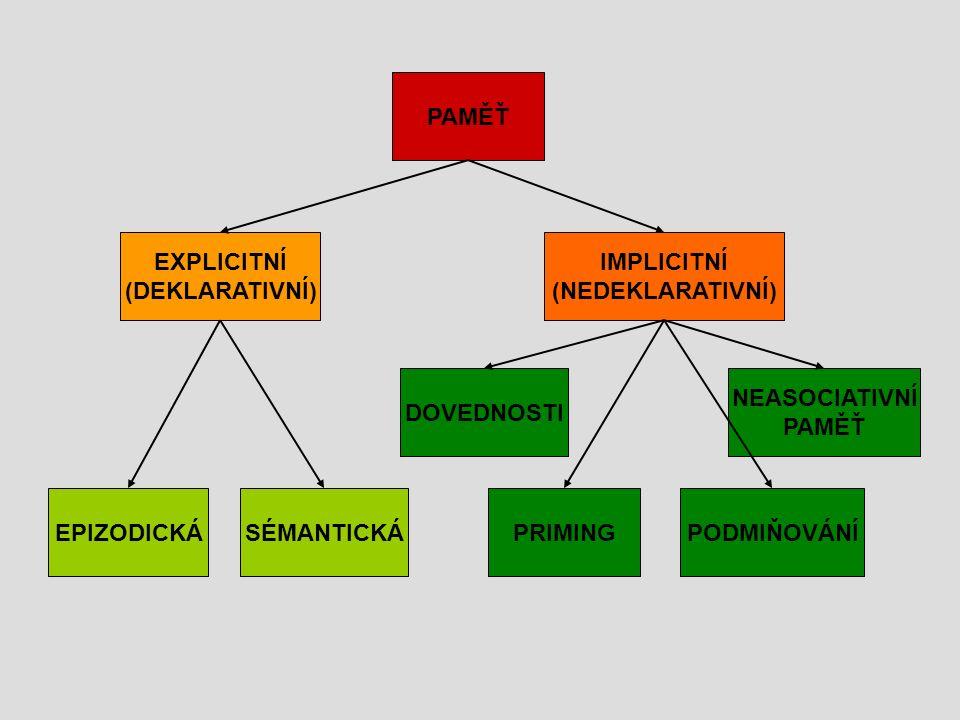 PAMĚŤ DOVEDNOSTI IMPLICITNÍ (NEDEKLARATIVNÍ) EXPLICITNÍ (DEKLARATIVNÍ) EPIZODICKÁSÉMANTICKÁPRIMINGPODMIŇOVÁNÍ NEASOCIATIVNÍ PAMĚŤ