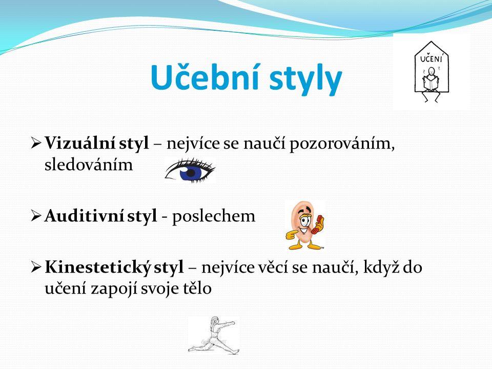 Učební styly  Vizuální styl – nejvíce se naučí pozorováním, sledováním  Auditivní styl - poslechem  Kinestetický styl – nejvíce věcí se naučí, když do učení zapojí svoje tělo