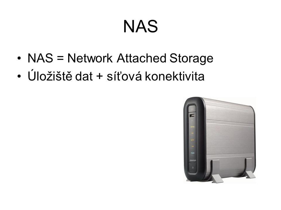 NAS NAS = Network Attached Storage Úložiště dat + síťová konektivita