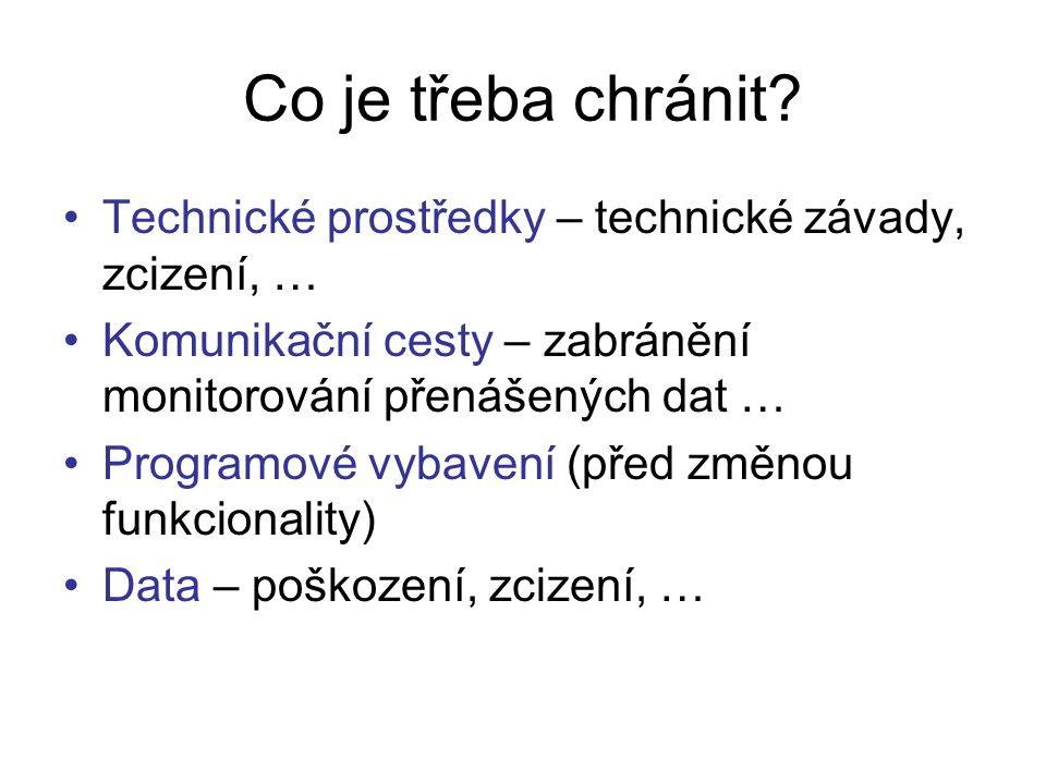 Co je třeba chránit? Technické prostředky – technické závady, zcizení, … Komunikační cesty – zabránění monitorování přenášených dat … Programové vybav