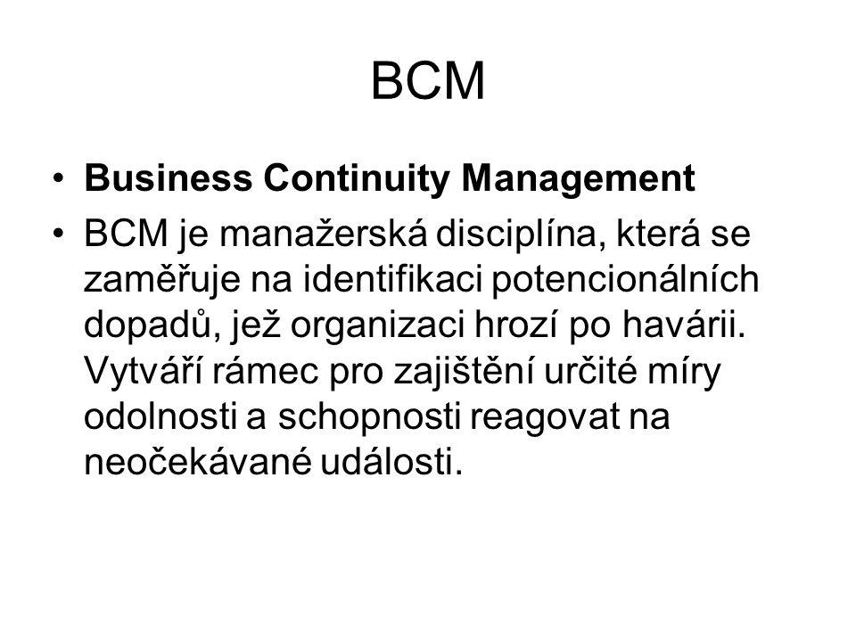 BCM Business Continuity Management BCM je manažerská disciplína, která se zaměřuje na identifikaci potencionálních dopadů, jež organizaci hrozí po hav