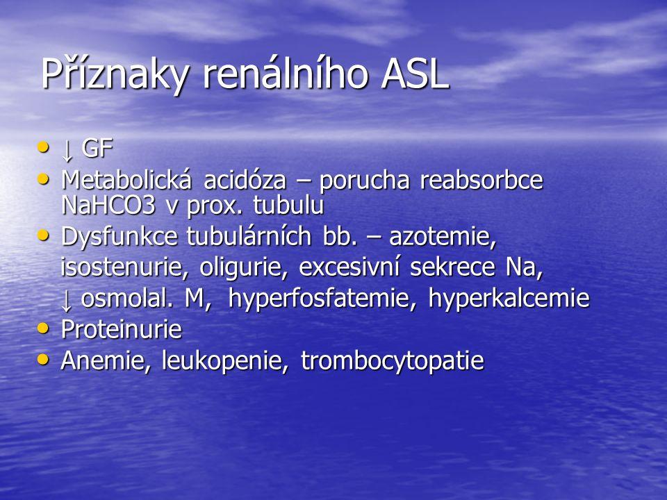 Příznaky renálního ASL ↓ GF ↓ GF Metabolická acidóza – porucha reabsorbce NaHCO3 v prox.