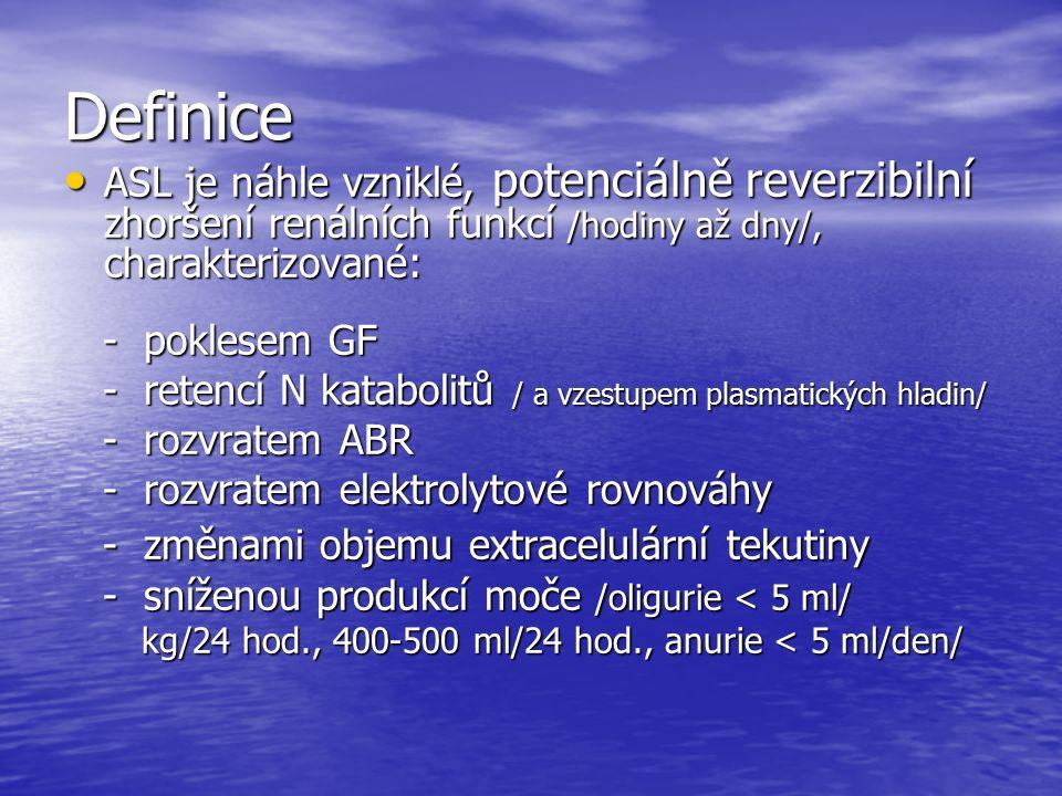 Terapie - konzervativní Vyloučení všech potencionálně nefrotoxických léků Vyloučení všech potencionálně nefrotoxických léků Bilance tekutin / + bilance ostatních ztrát/ Bilance tekutin / + bilance ostatních ztrát/ Korekce iontových dysbalancí Korekce iontových dysbalancí Korekce ABR Korekce ABR Diuretika, dopamin /1-3 ug/kg/min.