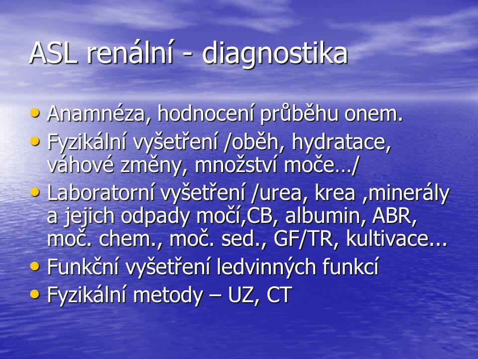 ASL renální - diagnostika Anamnéza, hodnocení průběhu onem.