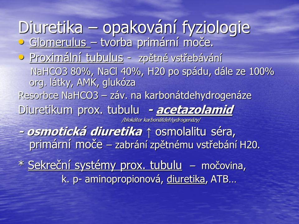 Diuretika – opakování fyziologie Glomerulus – tvorba primární moče.