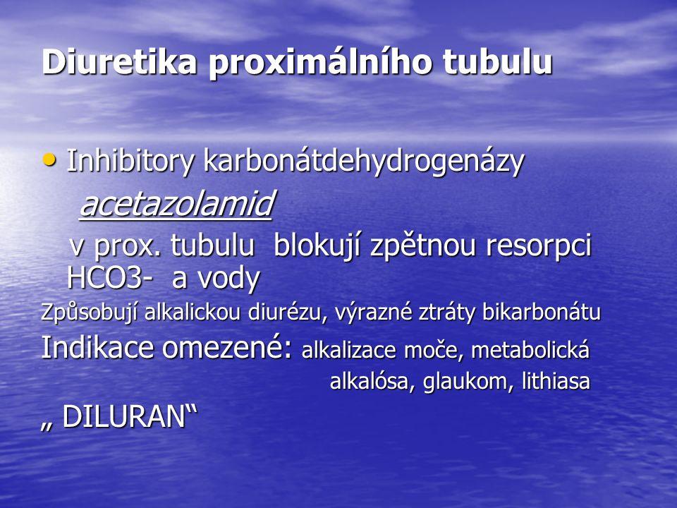Diuretika proximálního tubulu Inhibitory karbonátdehydrogenázy Inhibitory karbonátdehydrogenázy acetazolamid acetazolamid v prox.
