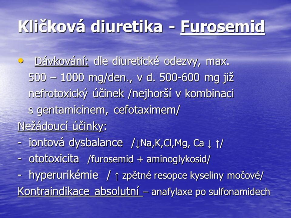 Kličková diuretika - Furosemid Dávkování: dle diuretické odezvy, max.